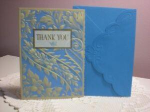 Carol's Rose Garden - Thank you card - Blue & Gold Design on the cover