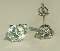 4 Ct Six prong Basket Stud Earring White Round Cut CZ In 925 Sterling Silver