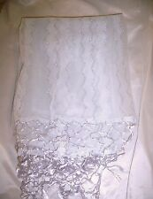 Vintage SILK SHAWL from SPAIN Sheer LAVENDER SHIMMERS Silver Zig Zag Design NEW