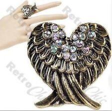 CROSSED ANGEL WINGS antique gold tone RING rhinestone wings ADJUSTABLE retro