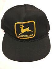 Vintage John Deere Black Hat Patch Snapback Trucker Farmer Mesh Cap Braided