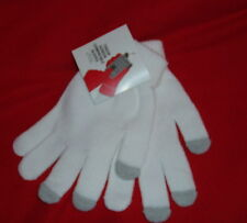 Gloves Touch Screen Compatible Knit Adult NEW White One Size Fits Most