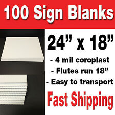 "BOX OF 100 18"" x 24"" BLANK WHITE CORRUGATED YARD SIGNS/POLITICAL SIGNS"