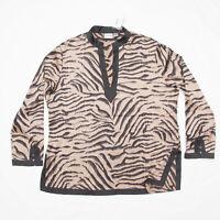 Chico's womens animal Tiger print silk blend blouse top long sleeve NWT black