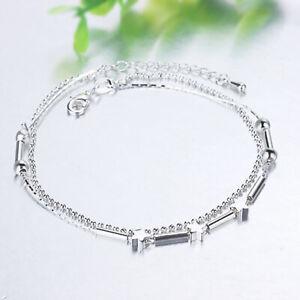 Silver Plated 925 Solid Star Bead Bar Adjustable Cuff Anklet Bracelet Bangle.