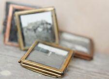 2 x Tiny Nkuku Brass Picture Photo Frames - Mini Danta Small Glass