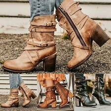 Womens Cowboy Ankle Boots Ladies Low Block Heels Zip Vintage Booties Shoes Size