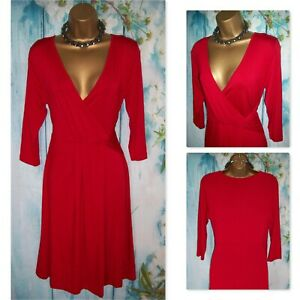 NEW M&S WOMAN DRESS UK 14,Gorgeous Red Stretch Jersey wrap Fit & flare Day Dress