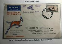 1931 Juba Sudan Airmail First Flight Cover FFC To Capetown South Africa Xmas