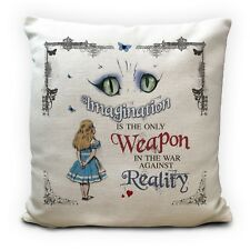 Alice in Wonderland Cushion Cover Cheshire Cat Imagination Vintage Gift 16 Inch