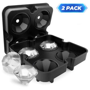 2 Pack Ice Maker Cube Tray Whiskey Sphere Round Ball Silicone Mold Bar Cocktails