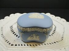Vintage Wedgwood Pale Blue Jasperware Bean Shaped Trinket Box & Lid