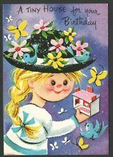 UnUsed SUNSHINE ART STUDIOS Vintage Birthday Card Girl & DollHouse color/cut out