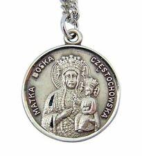 Sterling Silver Our Lady Matka Boska Czestochowska Medal with Sacred Heart Back,