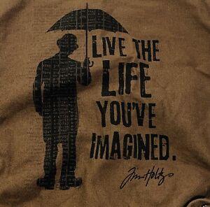 Vtg Tim Holtz Tote Bag SIGNED Canvas Live Life You Imagine Brown Man Umbrella