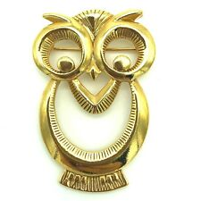 Owl Brooch Pin 1990 Book Piece Avon Wise Eyes Gold Tone Openwork