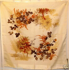 Vintage Brown & Beige Gim Renoir hand rolled Edge tête carré écharpe foulard #52