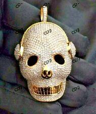 2.5ct Diamond Skull Wearing Headphone HipHop Pendant 14k Yellow Gold Over Silver