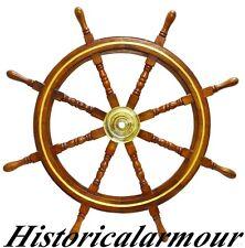 "36"" Boat Ship Wooden Steering Wheel Nautical Wall Decor W/ Brass Ring A64R52B"
