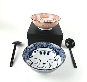 2 x Large Japanese Porcelain Soup Bowls Spoons Gift Set Pink Blue Lucky Cat 4694