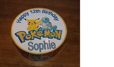 "POKEMON PERSONALISED CAKE TOPPER 7.5"" Dia , BOOK WRAPPER AND A5 BIRTHDAY CARD"