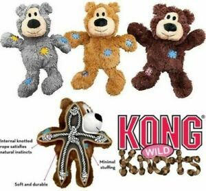 KONG Wild Knots Teddy Dog Toy Plush Squeaky Rope Tug Comfort Various Colours