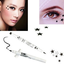 Trendy Black Waterproof Liquid Eyeliner Pen Pencil Star Shape Dot Stamp Tattoo