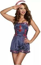 Sexy Sailor Costume Halloween Ship Mate Adult Large Polka Dots Pin-Up