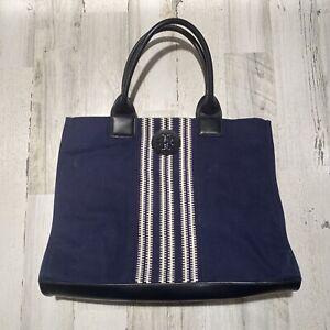 Tory Burch Large Navy Tote Handbag Purse Canvas Expandable