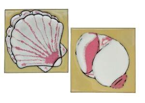"Vaccari Ponzano Magra Italian Tiles Seashells Sea Shell Nautical Relief 6"" SET 2"
