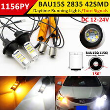 2x 1156 LED 42SMD PY21W BAU15S DRL White/Amber Turn Signal Light Reverse Lamp