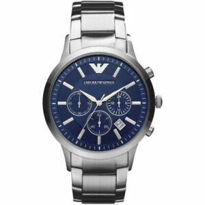 Mens Emporio Armani AR2448 Blue Silver Stainless Steel Chronograph Genuine Watch