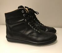 MM6 MAISON MARTIN MARGIELA BLACK LEATHER HI-TOP SNEAKERS 41/ UK 8 NEW RARE
