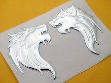 Wolf Decal Stickers Badge Emblems Motorcycles Tank Fairing 3D Silver Rubber New