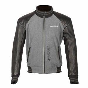 Spada Campus Yale Leather Armoured Motorcycle Motorbike Jacket - Black/Grey