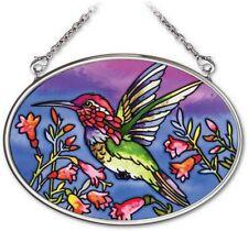"Hummingbird in Flight Sun Catcher 3.25"" x 4.5"" Amia Small Oval Handpainted"