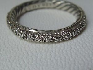 $950 DAVID YURMAN SILVER CABLE MELANGE PAVE DIAMOND RING