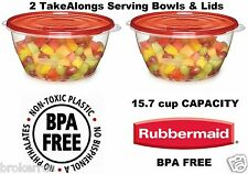 2 Rubbermaid TakeAlongs 15.7 Cup SERVING BOWLS plastic Storage Containers w Lids