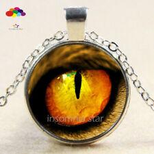 Vintage Cabochon Tibetan Silver Glass lizard eye Chain Pendant Necklace zqd98