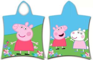 Peppa Pig Toddlers Girls Flower Hooded Beach Towel Poncho 100% Cotton