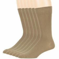 Men Cotton Beige Solid 6 Pack XL Big Dress Business Casual Soft Crew Sock 13-15