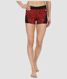 "$57 Nike Women's Red Black Printed Pro Hypercool 3"" Dri-Fit Shorts Size X-Small"