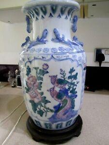 MASSIVE BEAUTIFUL,Ceramic BLUE ORIENTAL STYLE Table Lamp BRASS FITTINGS