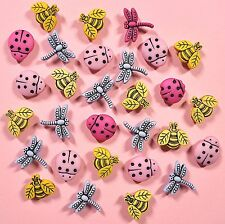 DRESS IT UP Buttons Tiny Bugs 1758 - Garden Bugs Dragon Flies Ladybirds Bees