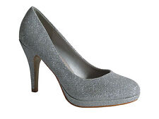 WOMENS LADIES WEDDING PARTY BRIDAL BRIDESMAIDS GLITTER HEELS COURT SHOES SIZE