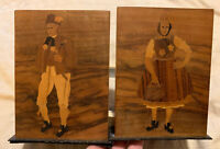 Beautiful Pair of Vintage Wood Inlay Bookends Man And Woman European Folk Couple