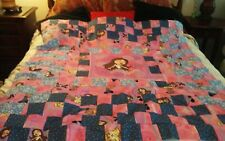 "Quilt top unfin, 58x59"" child pink, blue 4""block, cott/poly ship free"