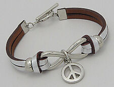 """7"""" Gorgeous Painted Silver Infinity Peace Sign Leather Bracelet BEAUTIFUL"""