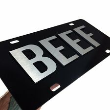 2D Beef License Plate Heavy Duty Brushed Aluminum Beef Farmer Car Tag Made USA
