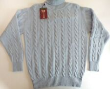 "William Lockie Roll neck 4 ply pure cable cashmere sweater pullover 44"" blue"